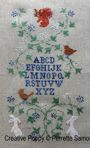 Winter visitors' banner cross stitch pattern by Perrette Samouiloff