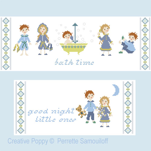 Bedtime cross stitch pattern by Perrette Samouiloff