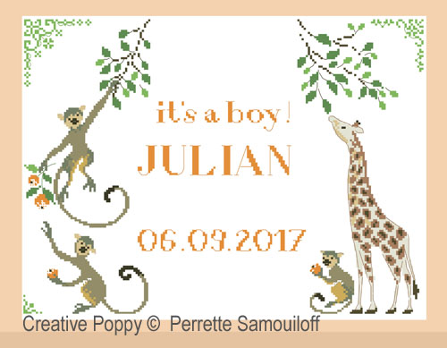 It's a boy, birth announcement cross stitch pattern by Perrette Samouiloff
