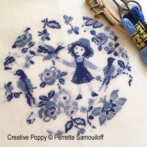 Camaïeu Blues cross stitch pattern by Perrette Samouiloff