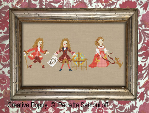 Life at the court I - 17th century cross stitch pattern by Perrette Samouiloff