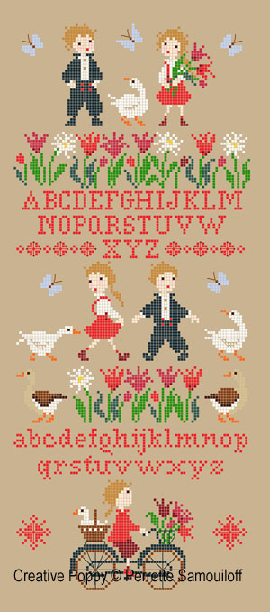 Cheeky Geese cross stitch pattern by Perrette Samouiloff