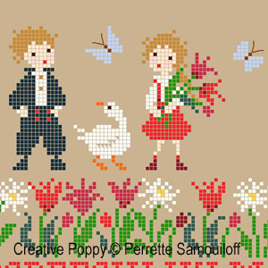 Cheeky Geese cross stitch pattern by Perrette Samouiloff, zoom2
