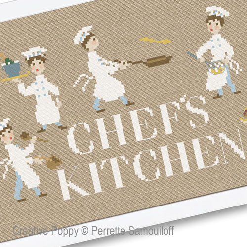 Chef's Kitchen cross stitch pattern by Perrette Samouiloff, zoom 1