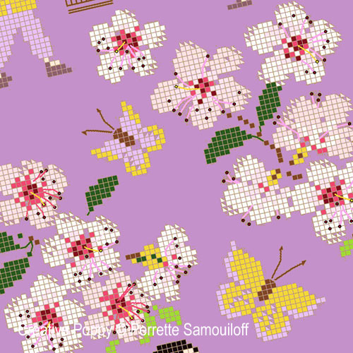Cherry Blossom cross stitch pattern by Perrette Samouiloff