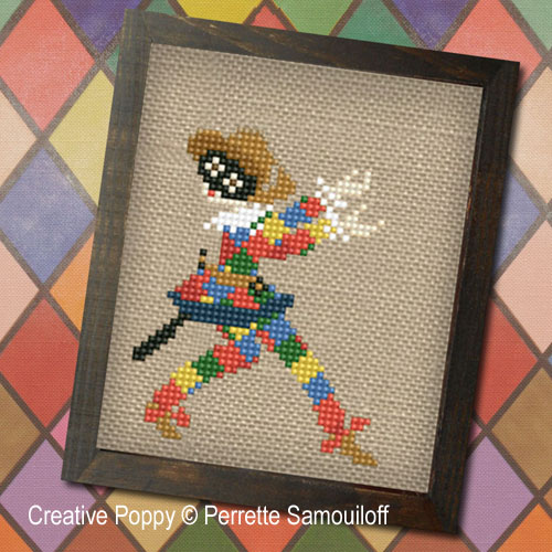 Commedia dell'Arte Theater cross stitch pattern by Perrette Samouiloff, zoom 1