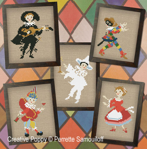 Commedia dell'Arte Theater cross stitch pattern by Perrette Samouiloff