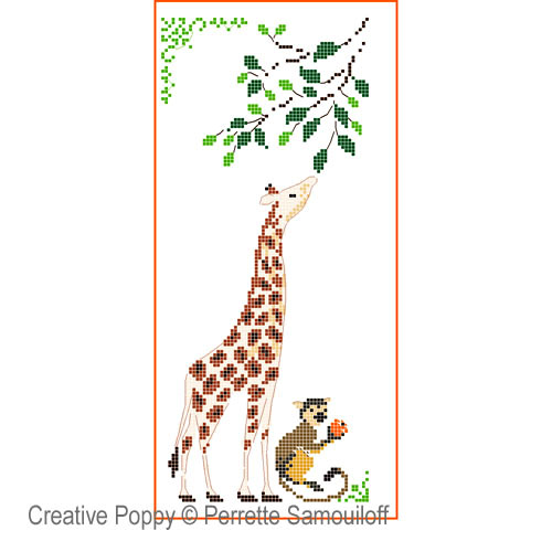 Giraffe & Baby Monkey cross stitch pattern by Perrette Samouiloff