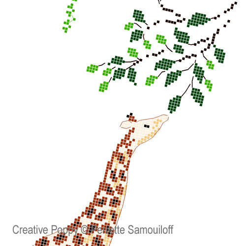 Giraffe & Baby Monkey cross stitch pattern by Perrette Samouiloff, zoom 1