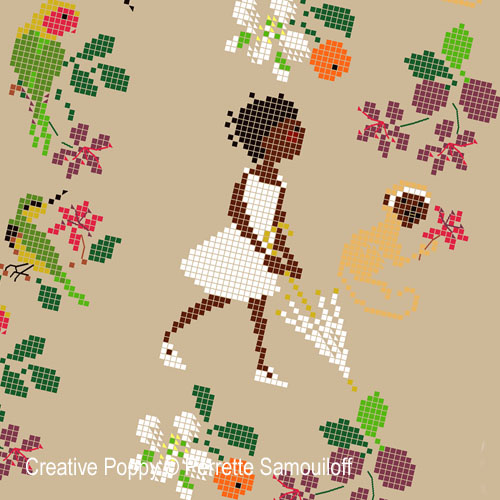 Happy Childhood collection: Africa cross stitch pattern by Perrette Samouiloff, zoom 1