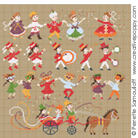 cross stitch patterns with Carnival and Music band