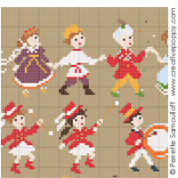 Happy Childhood - Carnival, counted cross stitch chart, designed by Perrette Samouiloff