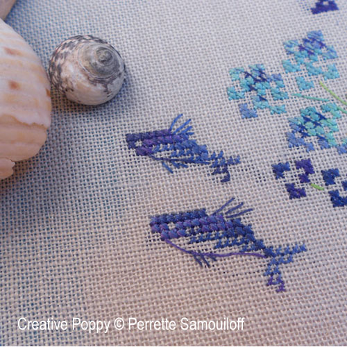 Flying Fish banner cross stitch pattern by Perrette Samouiloff