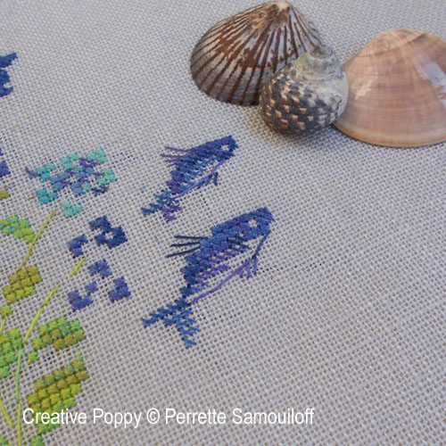 Flying Fish banner cross stitch pattern by Perrette Samouiloff, zoom1