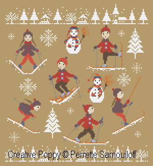 The Skiers (up and down the slope) cross stitch pattern by Perrette Samouiloff