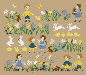 <b>Little chicks (large pattern)</b><br>cross stitch pattern<br>by <b>Perrette Samouiloff</b>
