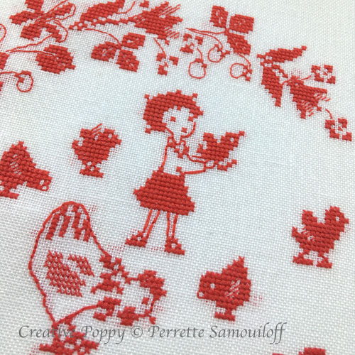Mother Hen and Chicks cross stitch pattern by Perrette Samouiloff, zoom 1