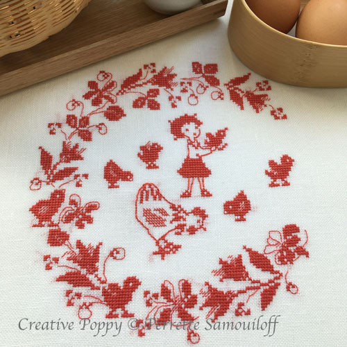 Mother Hen and Chicks cross stitch pattern by Perrette Samouiloff