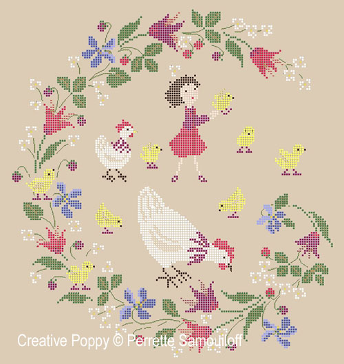 Mother Hens and Chicks cross stitch pattern by Perrette Samouiloff