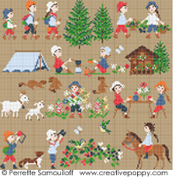 Happy Childhood- Mountain (large) - cross stitch pattern - by Perrette Samouiloff