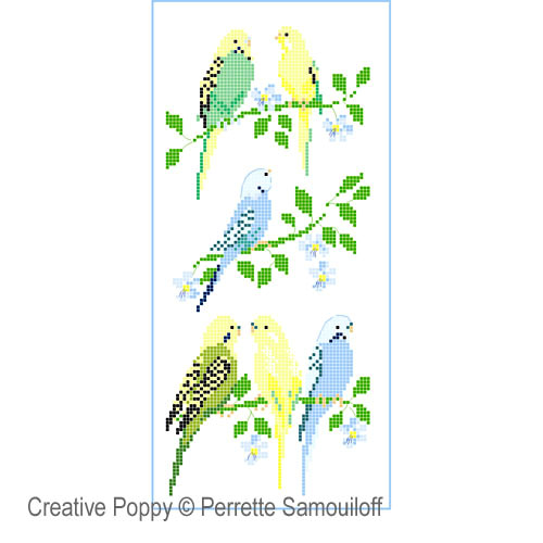 Parakeets cross stitch pattern by Perrette Samouiloff