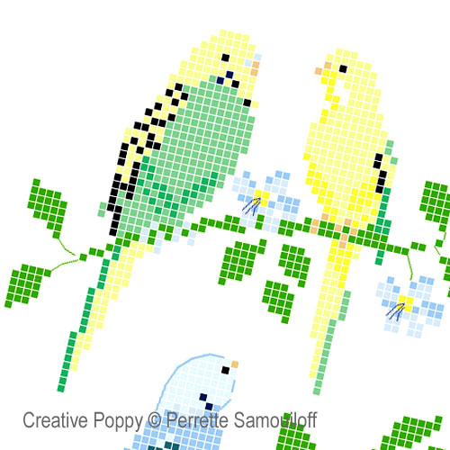 Perrette Samouiloff - Parakeets zoom 1 (cross stitch chart)