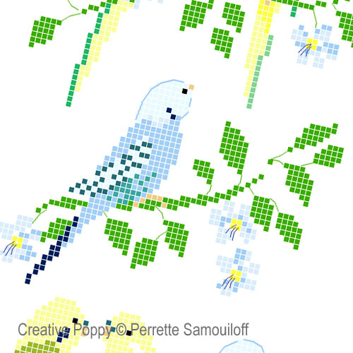 Parakeets cross stitch pattern by Perrette Samouiloff, zoom 1