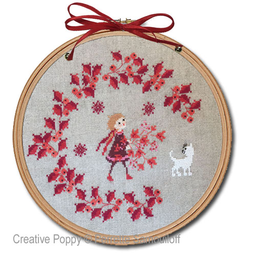 Red Berries Christmas Wreath cross stitch pattern by Perrette Samouiloff