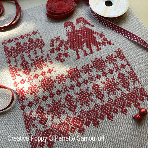 Red Lace & Holly Christmas cross stitch pattern by Perrette Samouiloff