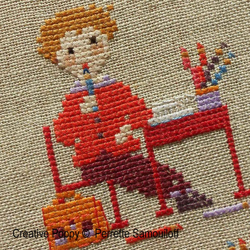 On the School Benches cross stitch pattern by Perrette Samouiloff, zoom 1