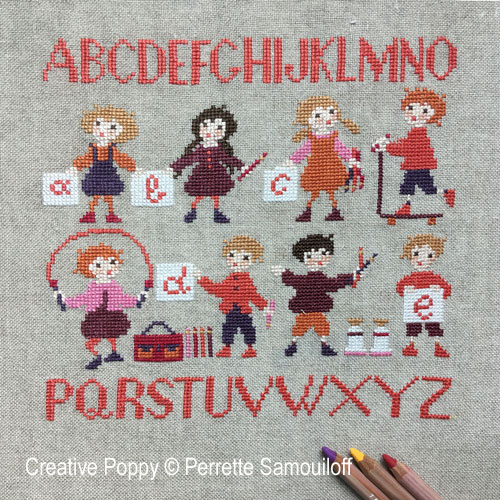 School cross stitch pattern by Perrette Samouiloff