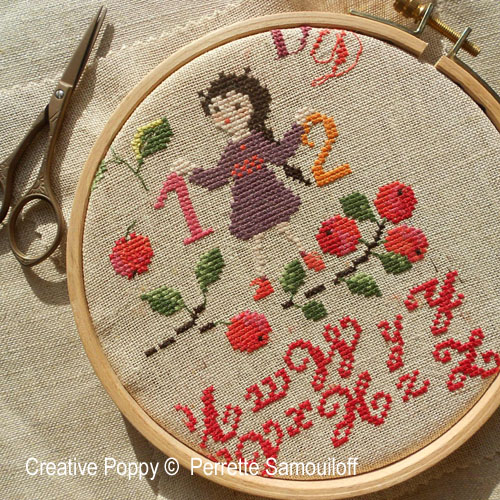 School days of Yore cross stitch pattern by Perrette Samouiloff, zoom 1