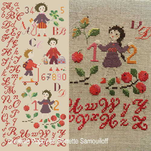 School days of Yore cross stitch pattern by Perrette Samouiloff
