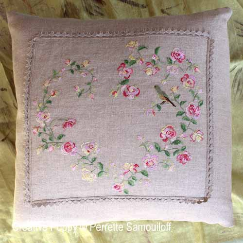 Singing Bird Rose Heart cross stitch pattern by Perrette Samouiloff, zoom2