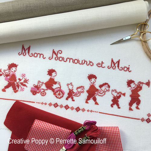 Teddy and Me cross stitch pattern by Perrette Samouiloff