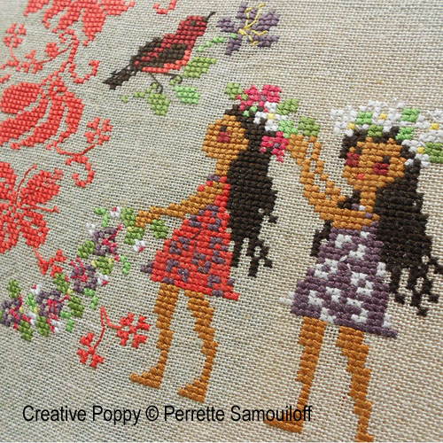 Tropical paradise cross stitch pattern by Perrette Samouiloff, zoom 1