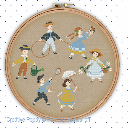Victorian Children playing in Summer cross stitch pattern by Perrette Samouiloff