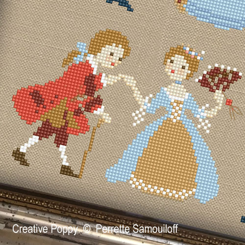 Life at the court of Versailles II - 18th century cross stitch pattern by Perrette Samouiloff, zoom 1