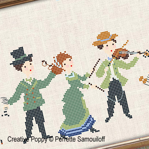 A walk in the park - 1900's fashion cross stitch pattern by Perrette Samouiloff, zoom 1