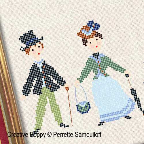 A walk in the park - 1900's fashion cross stitch pattern by Perrette Samouiloff