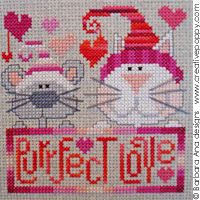 Purrfect love - cross stitch pattern - by Barbara Ana Designs