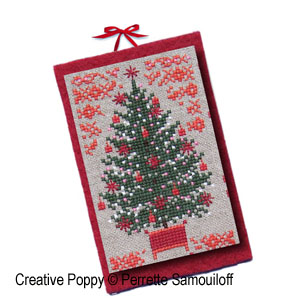 perrette samouiloff 8 red card size christmas ornaments cross stitch pattern chart - Cross Stitch Christmas Decorations