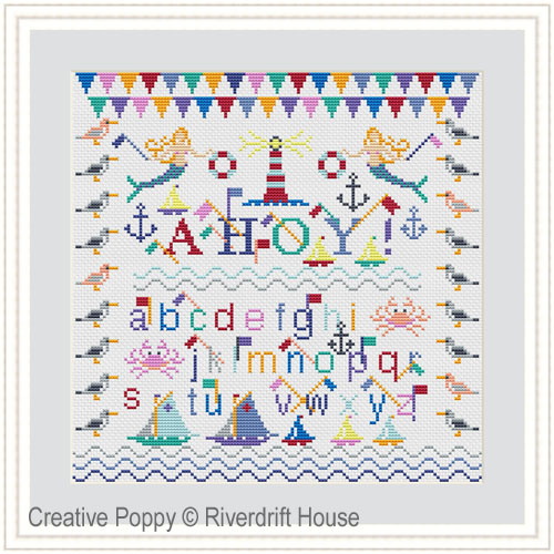 CROSS STITCH KIT with Hoop Ahoy by Riverdrift House