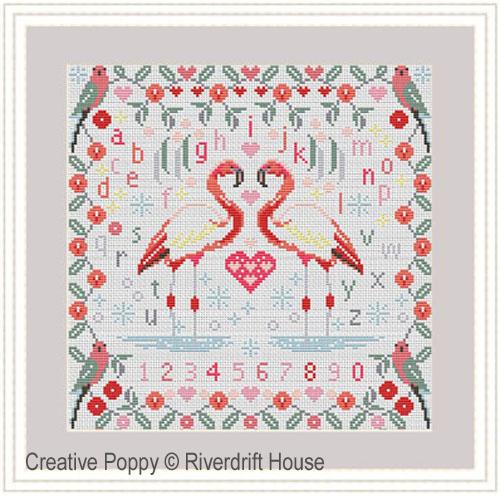 Flamingoes cross stitch pattern by Riverdrift House