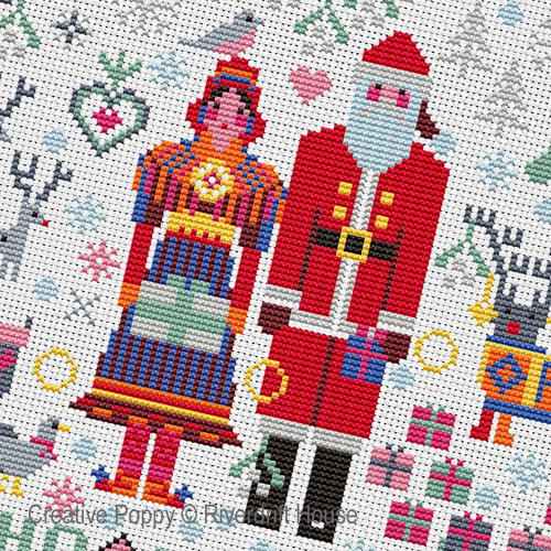 Riverdrift House - Santa & Mrs Claus Folkies zoom 1 (cross stitch chart)