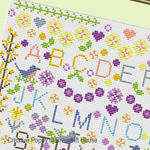 Riverdrift House - Spring Flowers Sampler zoom 1 (cross stitch chart)