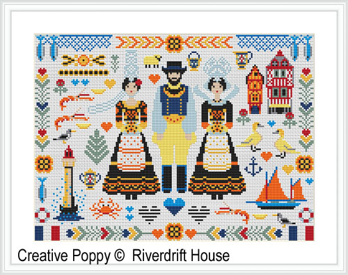 Breton Folkies (Britanny, France) cross stitch pattern by Riverdrift House