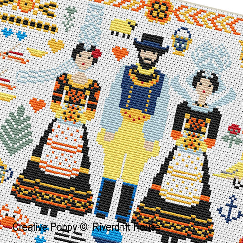 Breton Folkies (Britanny, France) cross stitch pattern by Riverdrift House, zoom 1