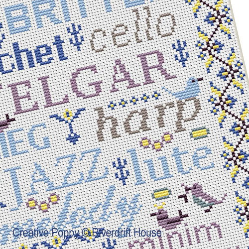 Birds&Words - Music cross stitch pattern by Riverdrift House, zoom 1