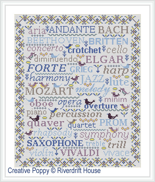 Birds&Words - Music cross stitch pattern by Riverdrift House